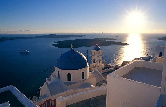 Santorini Greece Santorini is the last of the Cyclades islands to the South