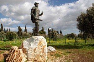 The statue of Miltiades in Marathon