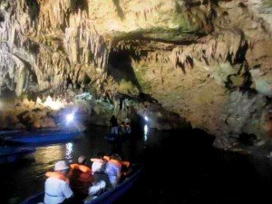 boats in diros cave