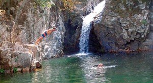 swimming in the waterfalls of Samothrace
